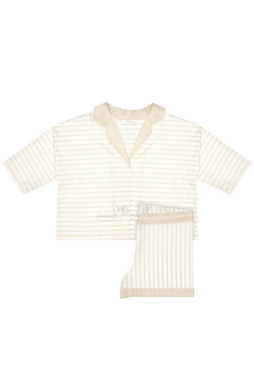 Kısa Kollu  Üst - Şort Pijama  Takım - Ekru Çizgili resmi