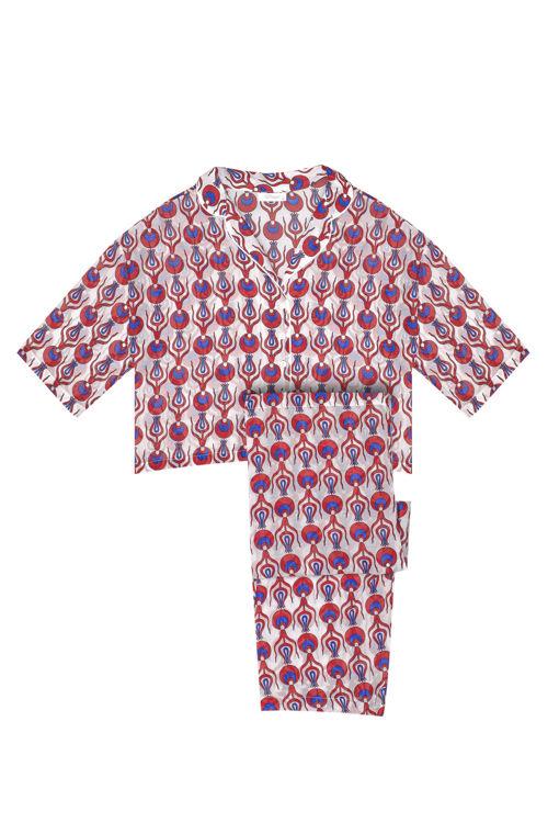 Kısa Kollu Pijama Takım - Beyaz Osmanlı Desenli resmi