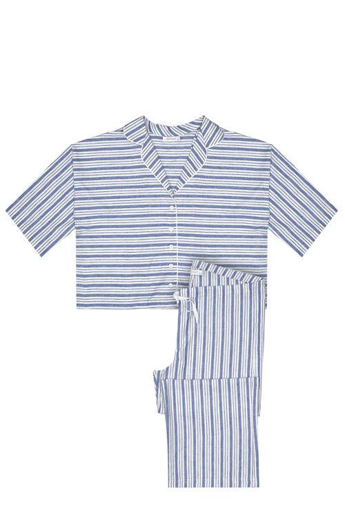 Kısa Kollu Pijama Takım - Mavi Çizgili resmi