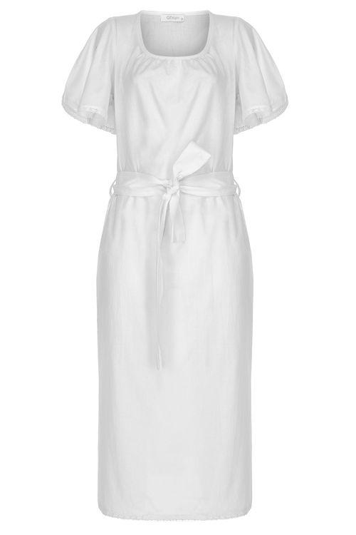 Kolları Dantelli Fiyonklu Elbise - Gecelik -Beyaz resmi