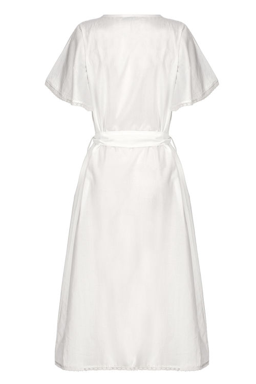 Kolları Dantelli Fiyonklu Elbise - Gecelik -Ekru resmi