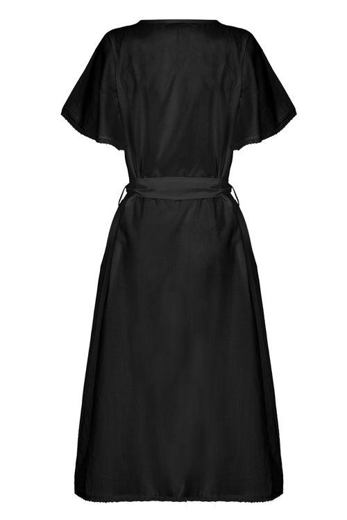 Kolları Dantelli Fiyonklu Elbise - Gecelik -Siyah resmi