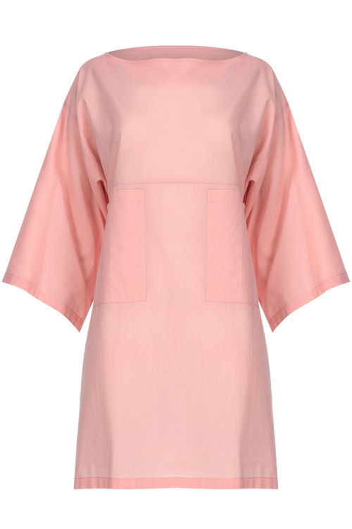 Kolları Volanlı Elbise - Gecelik - Pembe resmi