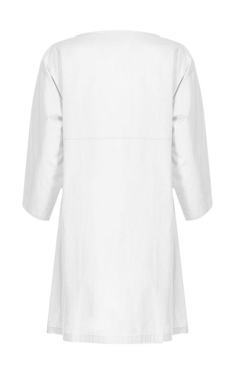 Kolları Volanlı Elbise - Gecelik -Beyaz resmi