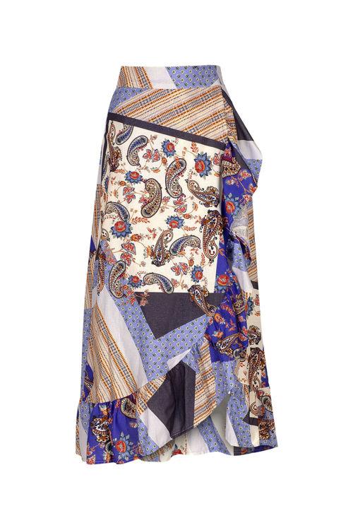 Koton Mavi Pano Desenli Anvelop, Farbelalı Etek resmi