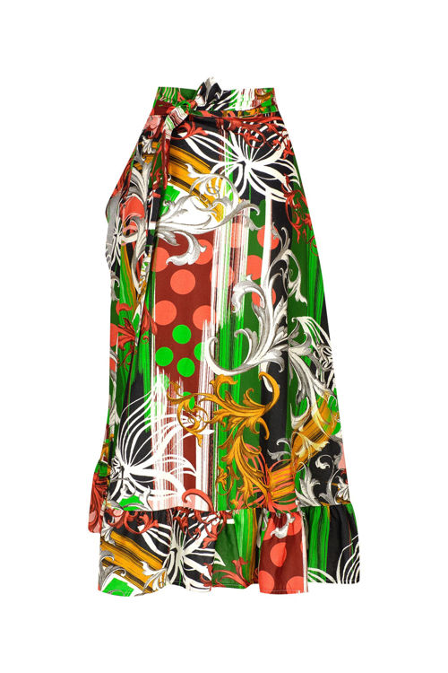 Kotton Yeşil Desenli Farbelalı Anvelop Etek resmi