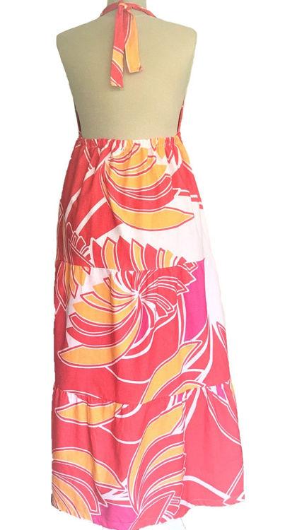 Mercan Rengi Tropikal Desenli Elbise resmi