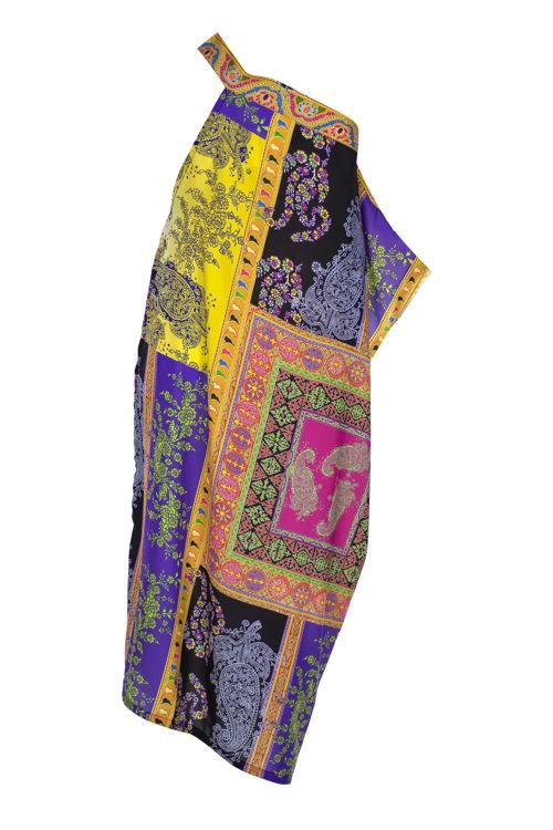 Omuz Detaylı Elbise - Sarı Desenli resmi