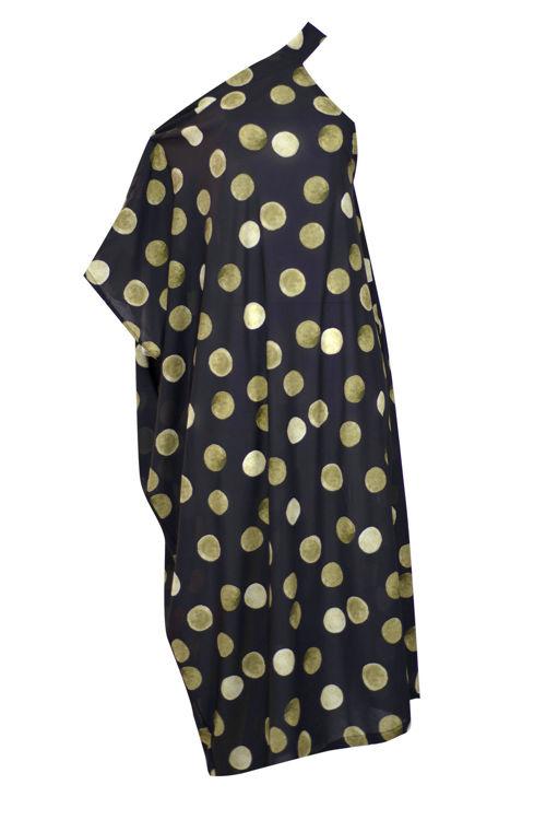 Omuz Detaylı Elbise - Siyah Puantiyeli resmi