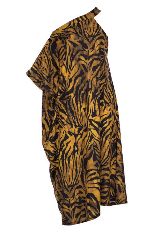 Omuz Detaylı Elbise -Leopar Desenli resmi