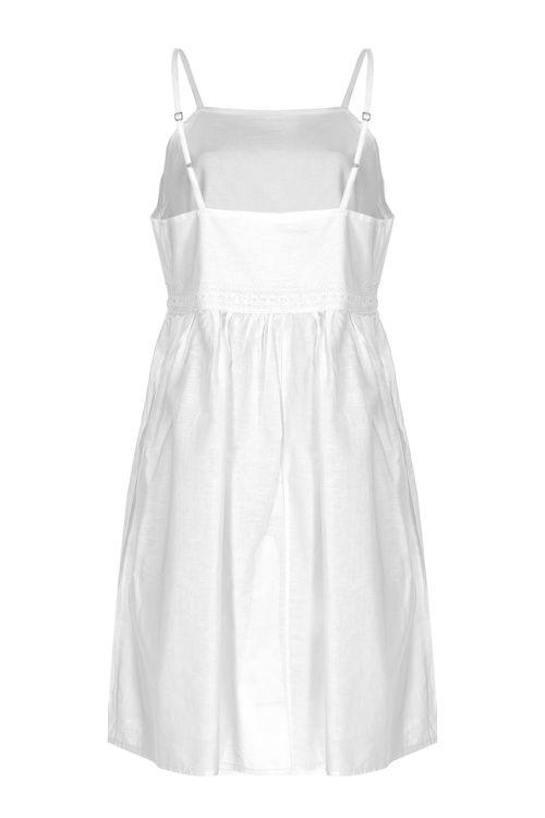 Oya Detaylı Askılı Elbise - Gecelik -Beyaz resmi
