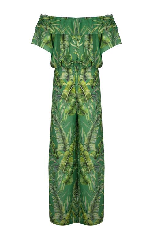 Plaj Üst Pantalon Set - Yeşil Yapraklı resmi