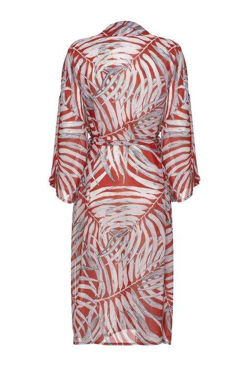 Şifon Uzun Kimono - Kırmızı Desenli resmi