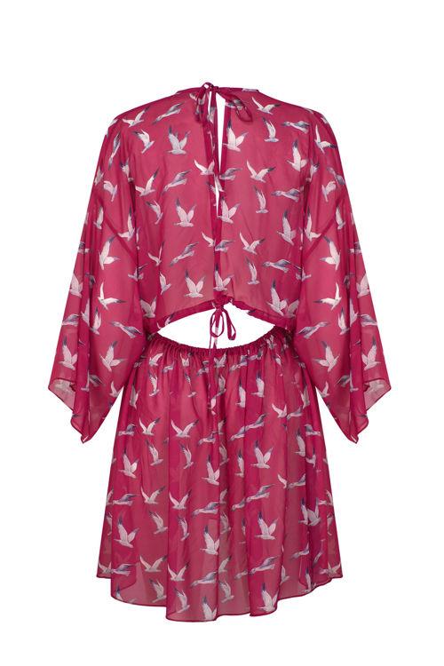 Sırtı Açık Sifon Kuşlu Plaj Elbisesi - Fuşya resmi