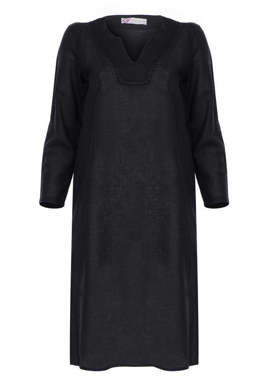 Siyah Yakalı Elbise - Gecelik - Siyah resmi