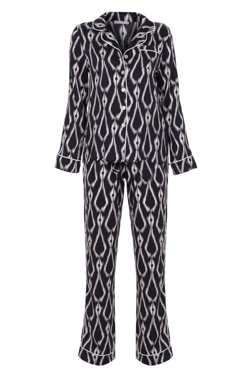 STELLA - İpek Biyeli Pijama Takım - Siyah Desenli resmi