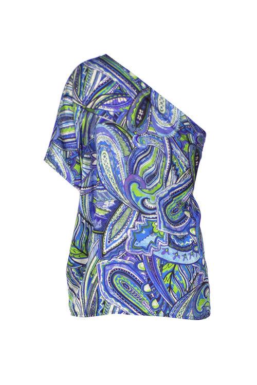 Tek Omuz Bluz - Mavi Desenli resmi