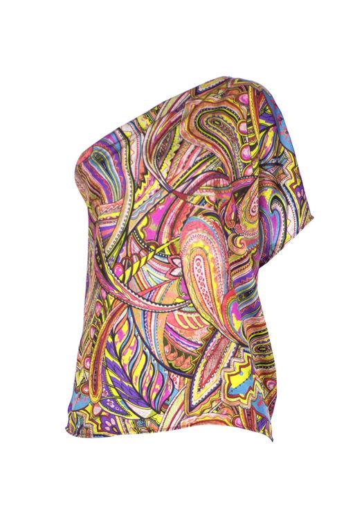 Tek Omuz Bluz - Pembe Desenli resmi