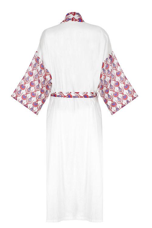 Uzun Keten Kimono - Beyaz Osmanlı Desenli resmi
