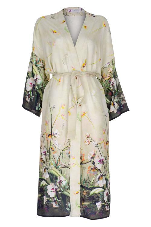 Uzun Kimono - Bej Desenli resmi