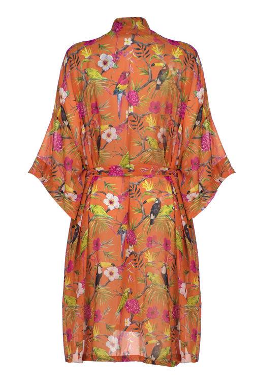 Uzun Kimono - Turuncu Desenli resmi
