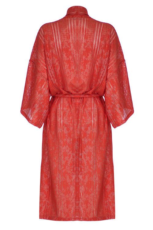 Uzun Kimono - Turuncu Simli resmi