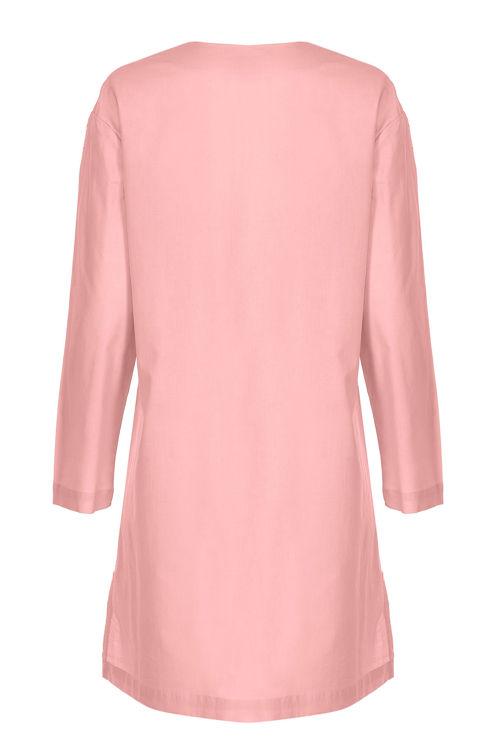 V Yaka Elbise - Gecelik - Somon resmi