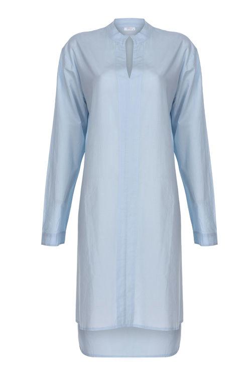 V Yaka Elbise - Gecelik -Mavi resmi
