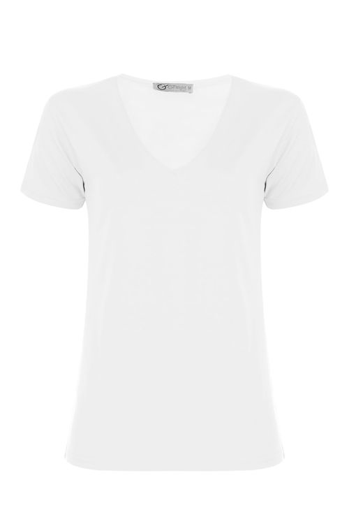 V Yaka T-Shirt - Beyaz resmi