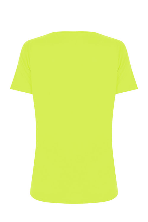 V Yaka T-Shirt - Neon Sarı resmi