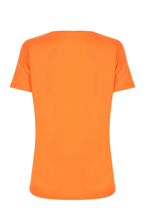 V Yaka T-shirt - Neon Turuncu resmi