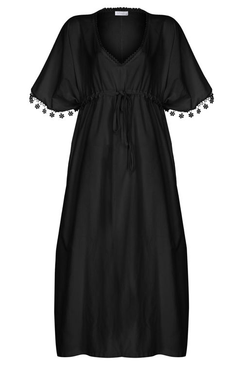 Yakası Oyalı Bel Detaylı Elbise - Gecelik - Siyah resmi